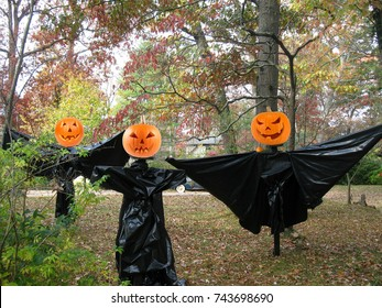 Spooky Halloween Figures Made from Plastic Trash Bags