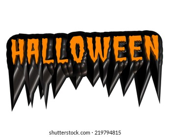 A spooky Halloween sign in orange and black isolated on white