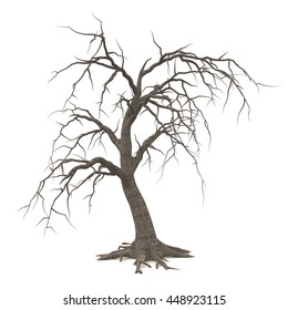Spooky Halloween tree with long roots and bare branches isolated on white background. 3D illustration.