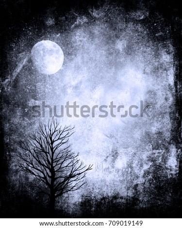 Spooky Halloween Wallpaper With Scary Tree And Full Moon Grunge Texture Background Frame