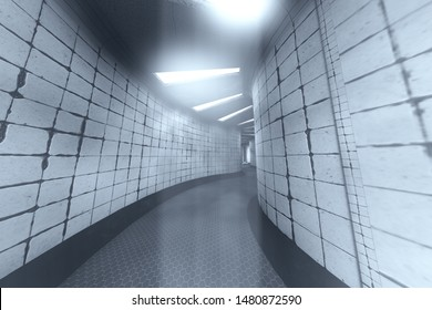 Spooky Haunted Lunatic Hospital Corridor 3D Illustration