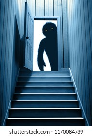 Spooky monster with glowing eyes in opened door steps leading from a dark basement. 3d render