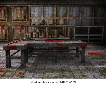 Spooky morgue with a table and floor covered in blood