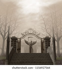A spooky, scary entrance to a graveyard guarded by an angel of death statue and surrounded by trees in autumn fog, 3d render illustration
