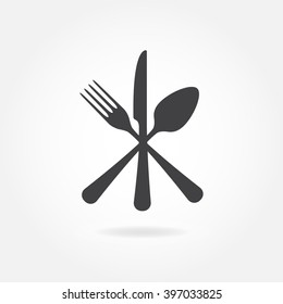Spoon, Fork and Knife icon. Crossed cutlery symbols in flat style.