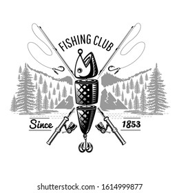 Spoon-bait fish with crossed fishing rods with landscape in engraving style. Label for fishing or fishing shop on white