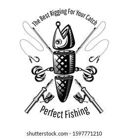 Spoon-bait fish with two hooks and crossed fishing rods in engraving style. Label for fishing or fishing shop on white