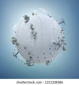 Sport. 3d illustration of the winter planet with ski resort, slope, and  ski lift. Creative ski winter background isolated on white. Baby planet.Winter activities banner design. Winter concept.