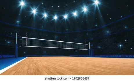 Sport arena interior and professional volleyball court and crowd of fans around. The player's view when serving. Digital 3D illustration.