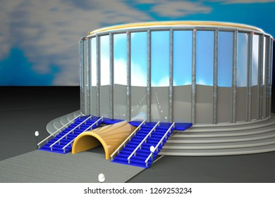 Sport arena under blue sky, 3d rendering