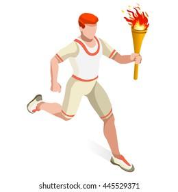 Sport Athletics Torch Bearer Athlete runner Summer Games Icon Set. 3D Isometric Athlete. Sport Championship International runner. Infographic Athletics Torch Bearer events silhouette 3D Illustration