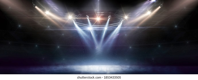 Sport background. Winter. Blue ice floor texture and mist. Snow and ice background. Empty ice rink illuminated by spotlights. Scene Illumination. Colorful. 3D rendering
