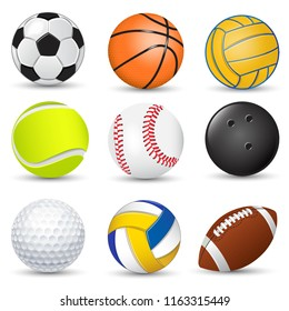 Sport balls collection football basketball water polo golf tennis