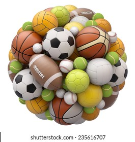 Sport balls isolated on white background