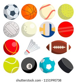 Sport Balls Set. Round Sport Equipment. Game Classic Balls. Gaming Icons. Soccer, Rugby, Baseball, Basketball Tennis Puck Volleyball Illustration
