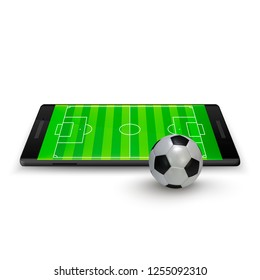 Sport betting online. Soccer onlite. Horizontal mobile phone with football soccer ball and field on the screen. illustration Isolated on white background