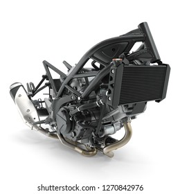 Sport Bike Engine 3d Illustration on White Background Isolated
