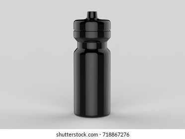 Sport black shiny  sipper bottles for water isolated on grey background for mock up and template design. White blank bottle 3d render illustration.