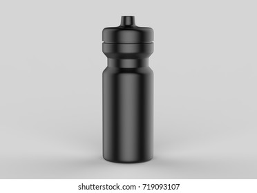 Sport black sipper bottles for water isolated on grey background for mock up and template design. White blank bottle 3d render illustration.
