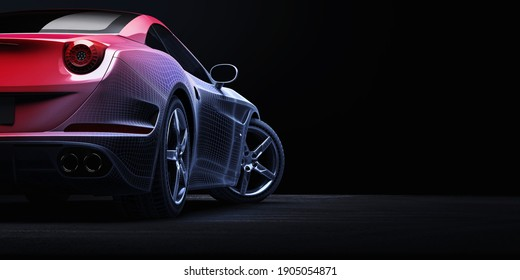 Sport car. 3D render with polygon structure.