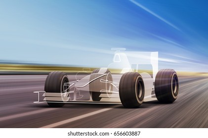 sport car outline and wheels rushes on road with high speed
