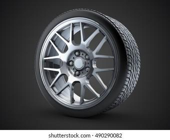 Sport car wheel. A single car tire or tyre. On a black background. 3d render illustration high resolution