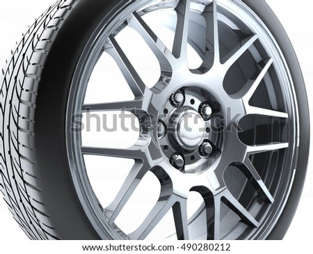 Sport Car Wheel Single Car Tire Stock Illustration 490280212