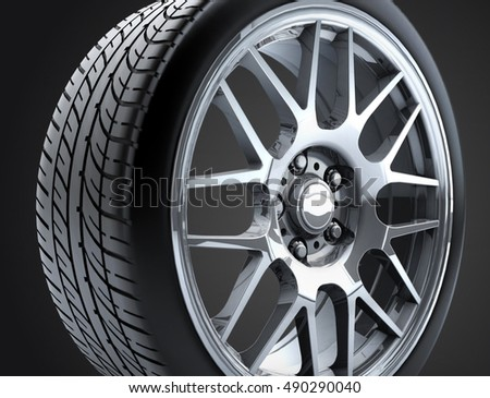Sport Car Wheel Single Car Tire Stock Illustration 490290040