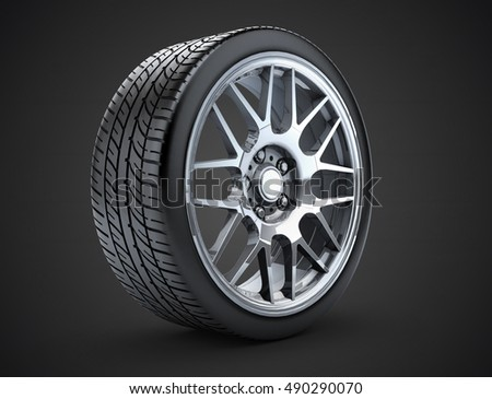 Sport Car Wheel Single Car Tire Stock Illustration 490290070