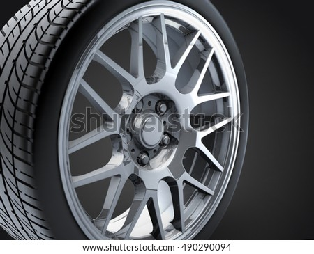 Sport Car Wheel Single Car Tire Stock Illustration 490290094