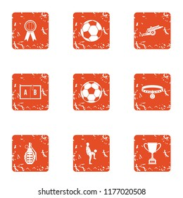Sport clubhouse icons set. Grunge set of 9 sport clubhouse icons for web isolated on white background