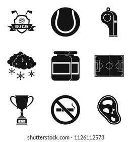 Sport clubhouse icons set. Simple set of 9 sport clubhouse icons for web isolated on white background