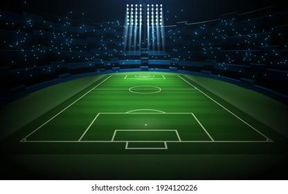 Sport concept background - soccer footbal stadium with floodlights. Grass football pitch, 3d illustration
