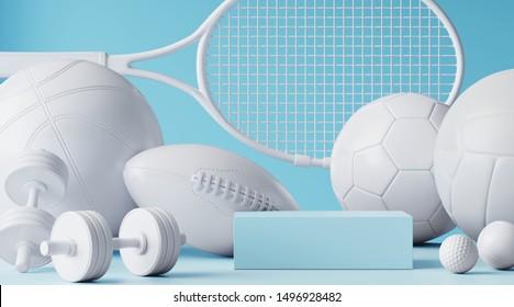 Sport equipment background for healthy lifestyle packaging presentation. Set of sport items on blue background. 3d rendering illustration.