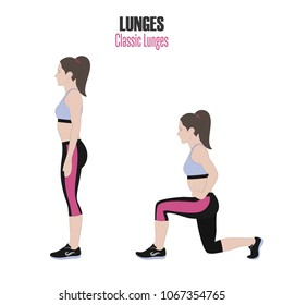 Sport exercises. Exercises with free weight. Classic Lunges. Illustration of an active lifestyle. Exercise for beautiful thighs and buttocks.