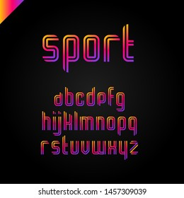 Sport font  square alphabet or letter set