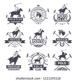 Sport labels for polo games. Monochrome silhouette of jockey and horse. Polo sport competition game illustration