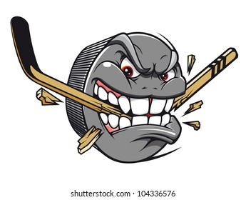 Sport mascot - hockey puck bites and breaks hockey stick. Vector version also available in gallery