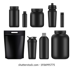 Sport nutrition. Fitness whey plastic jar and bottles power food for supplements gym athletes blank mockup