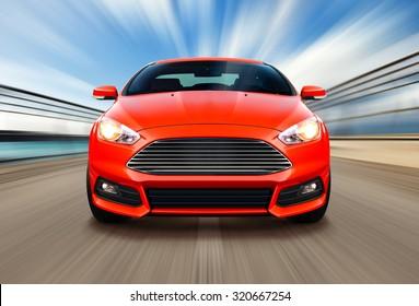 sport race car on speed track - motion blur