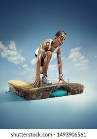 Sport. Runner on the start. 3d illustration with cut of the ground and the desert road.