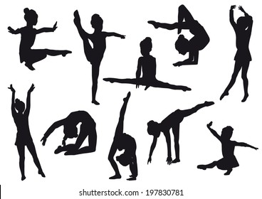 Sport. Silhouettes of gerls, children at dance, aerobics, shaping. little gymnast athlete isolated on white background