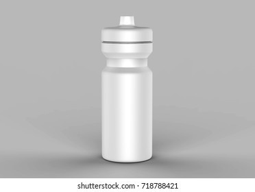Sport sipper bottles for water isolated on grey background for mock up and template design. White blank bottle 3d render illustration.