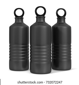 Sport sipper bottles for water isolated on white background for mock up and template design. black blank bottle 3d render illustration