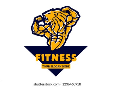 Sport strong bodybuilder lion, illustration, cartoon, clipart, logo, animal