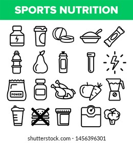 Sport Supplement Food Line Icon Set . Nutrition Pictogram. Health Sport Supplement Food Symbol. Energy Vitamin Diet. Thin Outline Illustration
