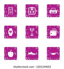 Sporting behaviour icons set. Grunge set of 9 sporting behaviour icons for web isolated on white background