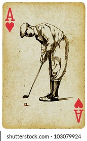 """""""Sports Aces"""" on the ace of hearts, playing card. Vintage processing. Hand drawing. GOLFER"""