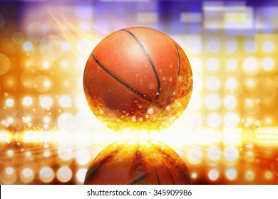 Sports background - burning basketball, orange glowing lights with reflection