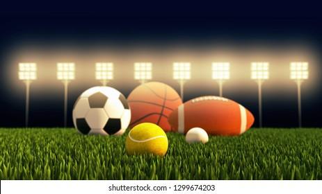 Sports ball equipment includes golf, tennis, american soccer, basketball, football 3D illustration